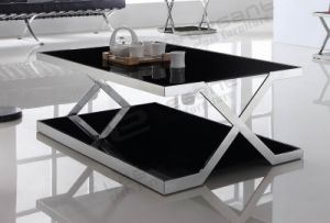 Tempered Glass TV Stand with Stainless Steel Frame pictures & photos