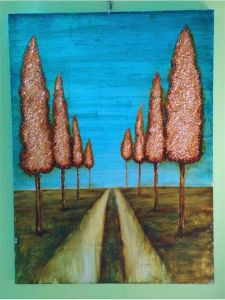 Autumn Landscape Pine Trees Road Oil Paintings for House Wall Decoration (LH-032000) pictures & photos
