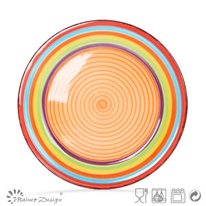 27cm Ceramic Plate Handpainted in Spinwash Design pictures & photos