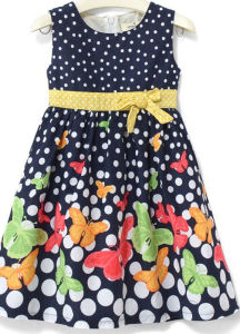 Fashion Girl Flower Location Dress in Children Clothing Sqd-148