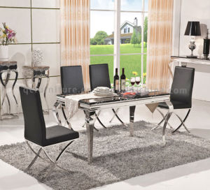 Popular Modern Marble Top Metal Base Dining Table Chair pictures & photos