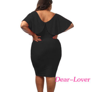 Black Plus Size Ruffle Lace up MIDI Dress pictures & photos