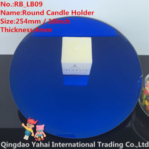 4mm Large Bevel Blue Glass Candle Holder pictures & photos