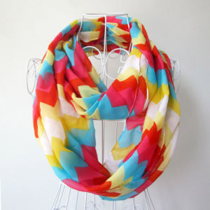 Woman Fashion Wave Printed Polyester Chiffon Infinity Scarf (YKY1099-2) pictures & photos