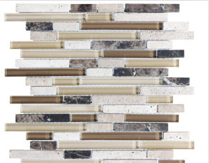 Bliss Cappucino Random Strip Glass and Stone Mosaic Tiles pictures & photos
