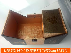 MDF Wood Box for Wine Double Door Open Wine Box