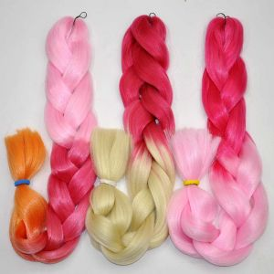 Synthetic Ombre Hair Braid 100% Kanekalon Jumbo Box Braid Hair Pink and Blonde Colors Extension Lbh040 pictures & photos