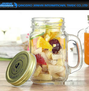 600ml Clear Glass Food, Salad, Fruit Mason Bottle with Handle pictures & photos