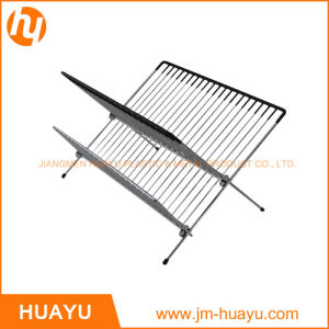 Chrome-Plated Steel Foldable X Shape 2-Tier Shelf Small Dish Drainers with Drainboard (Chrome) pictures & photos