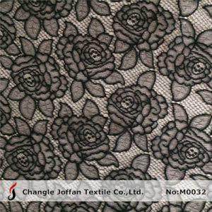 Jacquard Black Rose Lace Fabric (M0032) pictures & photos