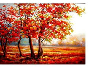 Abstract Landscape Oil Painting Beautiful Red Trees Autumn Scenery Handmade Acrylic Knife Paintings