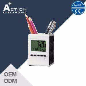 Transparent Utility Design Pen Holder Desktop Clock pictures & photos