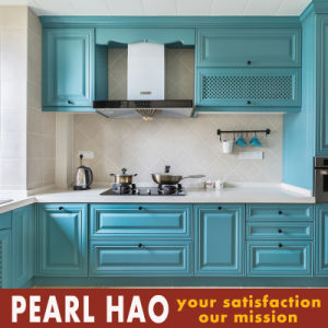 Simple Euro Style Blue Wood Blister Kitchen Cabinet pictures & photos