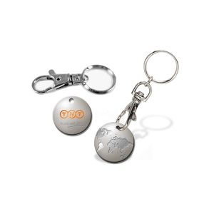 Custom Promotional Metal Gold Plated Trolley Coin Keychain pictures & photos