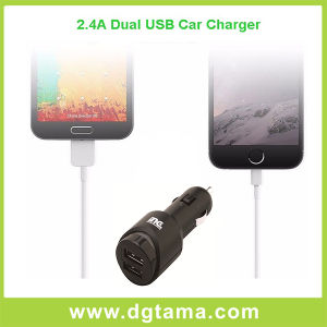2.4A Black Dual USB Car Charger for iPhone and Smartphones pictures & photos