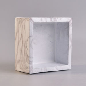 Square Shape White Marble Finish Water Transfer Ceramic Candle Holder  pictures & photos
