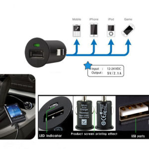 5V 2.1A Mini Single USB Car Charger Adapter for Samsung/iPhone pictures & photos