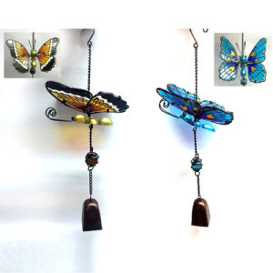 Popular Hanging Garden Decoration Metal Wind Bell Craft with Stained Glass pictures & photos