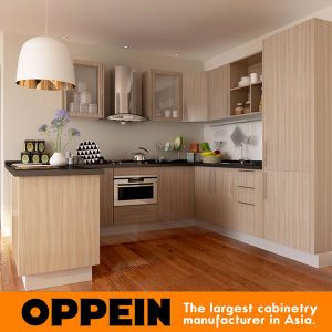 Modern Wood Grain Matte Melamine Kitchen Cabinet (OP15-M11) pictures & photos