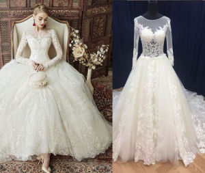 Long Sleeve Trendy Princess Gown for Bride pictures & photos