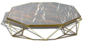 Stainless Steel +Natural Marble Coffee &Console Table (GJ060)