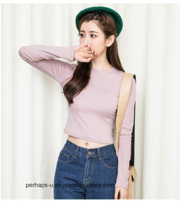 Close-Fit Womens Cotton Crop Tops with Custom Brand Label pictures & photos