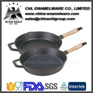 Household Enamel Coated Cast Iron Fry Pan Set for Kitchen Use pictures & photos