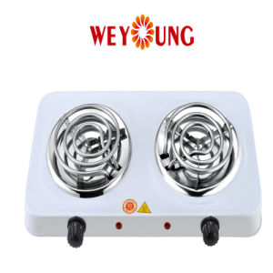 Double Burner Electric Coil Hotplate Indoor Ce Approval