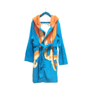 Cute Printed Animal Hooded Bathrobe for Kids pictures & photos