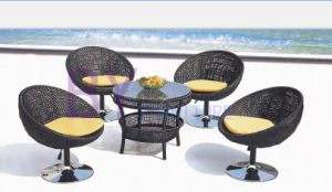 Four Black Shourt PE Rattan Furniture with Glass Top Table pictures & photos
