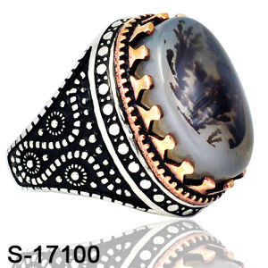 New Model Silver Jewelry Fashion Ring with Natural Agate pictures & photos