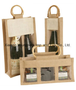 Custom Printed Fashion Natural Burlap Jute Tote Beach Bags with Leather Handle pictures & photos