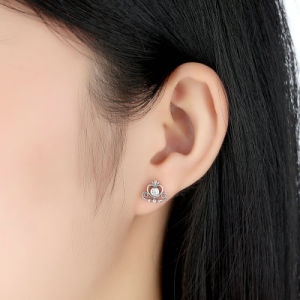 925 Sterling Silver Princess Jewellery Clear Zircon Heart Crown Stud Earrings pictures & photos