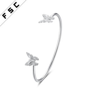Women′s Fashion Charm Jewelry Double Butterfly Cuff Bracelet Torque Bangle pictures & photos