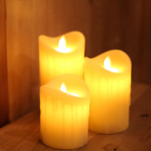 Yellow Tear Waved Pillar Flameless LED Candle with Remote and Timer pictures & photos