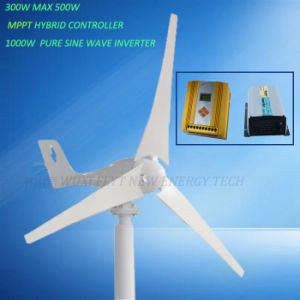 300W Wind Turbine with 12V 24V MPPT Hybrid Controller and 1000W Inverter pictures & photos