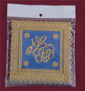 12.5*12.5cm Square Shape Blue Gold PVC Lace Tablemat Cheap Factory Wholesale pictures & photos