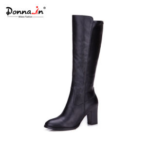 2017 Comfort Casual Lady Leather Shoes High Heels Women Boots
