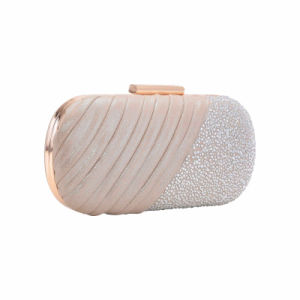 Champagne Rhinestone Wrinkle Clasp Evening Bag (MBNO041146) pictures & photos