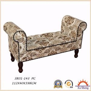Home Furniture Velvet Fabric Button Tufted Long Bench Loveseat for Living Room pictures & photos