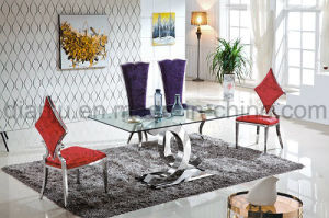 Modern Furniture Glass Stainless Steel Dining Table (A6085) pictures & photos