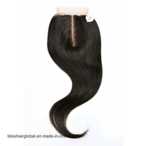 Bliss Hair 3.5X4 Lace Closure Three/Free/Middle Part Top Swiss Lace Closure Straight Peruvian Virgin Human Hair Closures Pieces pictures & photos