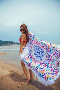 Custom Cotton Microfiber Round Beach Towel pictures & photos
