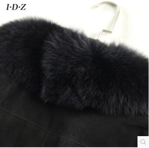 Black Lady′s Shearing Leather and Fur Jacket Long Style Fox Fur pictures & photos