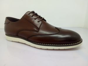 Brown PU Leather Mens Lace Shoes (NX 554) pictures & photos