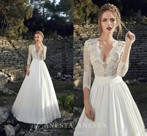 2017 Bridal Gowns 3/4 Lace Sleeves Beach Wedding Dress H1316 pictures & photos