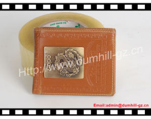 Promotion Trendy PU Men Wallet with Customized Metal Plate Logo pictures & photos