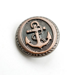 Custom Embossed Anchor Logo Plating Copper Plastic Buttons pictures & photos