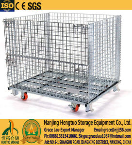 Heavy Duty Wire Mesh Pallet Container with Casters pictures & photos