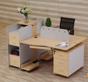 2 Seats Straight Desk Workstation Cluster Staff Office Partition (HX-NCD072) pictures & photos